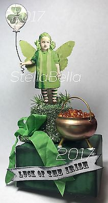 St Patricks Day Fairy Hat Altered Art vtg Ooak Collage Handcrafted Mixed Media