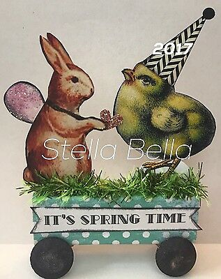 Easter Fairy Chick Bunny Altered Art vtg Ooak Collage Handcrafted Mixed Media