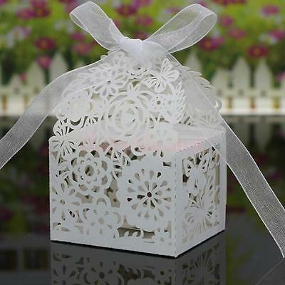 20pcs Gift Candy Sweet Boxes Cut Out Flowers Bridal Wedding Favors Bag White