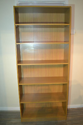 Beech Effect Tall Bookcase Storage Unit DVD / Video / Cd or For Display Items