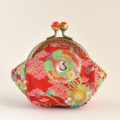 Handcrafted gold embossed Japanese cranes coin purse collectable #0065