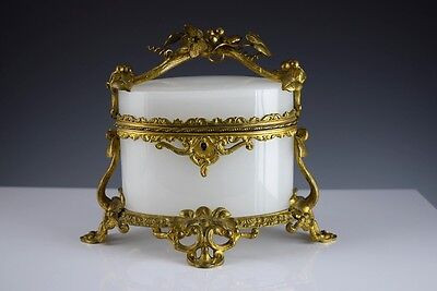 Antique French  WHITE OPALINE GLASS CASKETJEWELRY BOX with FABULOUS ORNATE  BASE