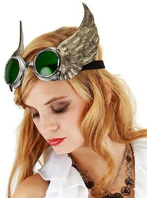 Winged Goggles Silver Gold Green Steampunk Glasses Adult Halloween Costume