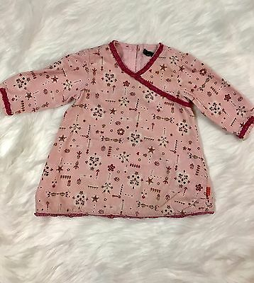 Oilily Baby Girl Corduroy Pink Floral Long Sleeve Dress Size 74 12 Months