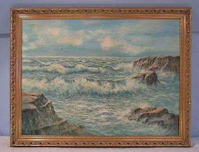 VINTAGE LARGE SEASCAPE OIL PAINTING ON CANVAS IN GILT CARVED FRAME by HEINZ KOCH