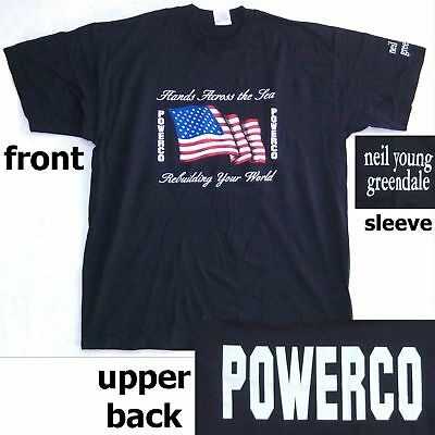Neil Young Powerco Greendale Us Flag Blk T-Shirt Xl New