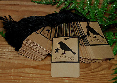 50 CROW Kraft Price Tags --- Perforated & Pre Strung on Heavy stock - primitive