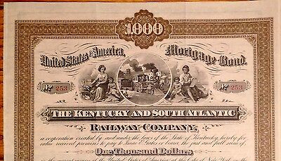The Kentucky and South Atlantic Railway Company $1000 Mortgage Bond Issued 1882