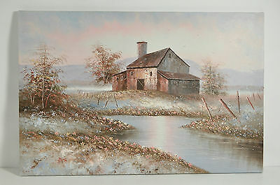Modern Art Oil Painting On Canvas Riverside Barn And Flowers Signed