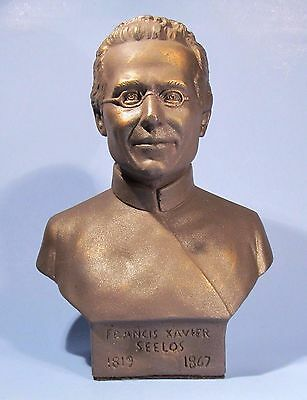 Blessed Francis Xavier Seelos Bronzed Bust Vintage Catholic Priest Sculpture