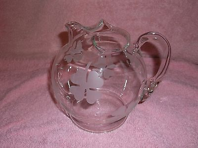 """Crystal glass Small Water/Juice Pitcher 5 3/4"""" Ice Lip Frosted four leaf clover"""
