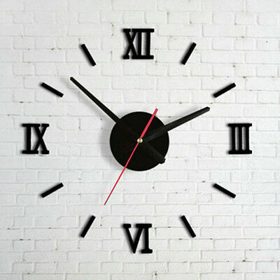 Modern DIY Large Wall Clock 3D Mirror Surface Stickers Home Office Decor Black
