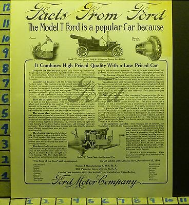1909 Ford Auto Car Sport Detroit Model T Mich Motor Travel Vintage Ad  Z51