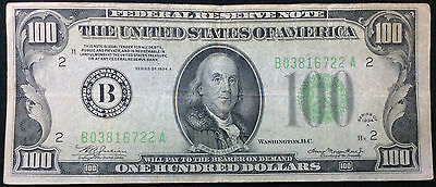 United States 1934 $100 Dollar Banknote Federal Reserve Bill B03816722A #1429