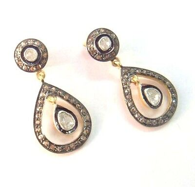 Charming ! 18k Gold Natural Rose Cut Diamond With Polki Superfine Earrings