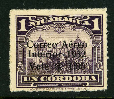 Nicaragua C62 Variety Mint 1932 Black Surcharge Not Regularly Issued OG 7B16 7
