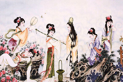 HANDPAINTED ORIGINAL ASIAN FAMOUS ART CHINESE WATERCOLOR PAINTING-Antique Beauty