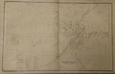 Antique Original 1880 Two Page Map of Springville, Town of Concord, New York