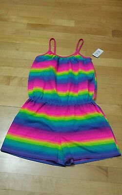 NWT Girls The Childrens Place Sz Large (10-12) Bight Neon Tie Dye Romper Summer