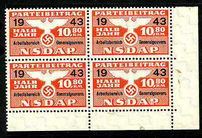 Germany 1943 Nazi Party NSDAP Dues 10.80 RM Revenue Stamps WWII BLK UMM 7B16 17