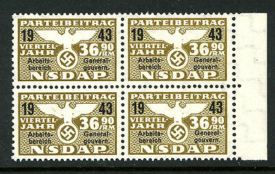 Germany 1943 Nazi Party NSDAP Dues 36.90 RM Revenue Stamps WWII MNH UMM 7B16 19