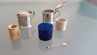 Tableware Including Salts Inserts Tiny Spoon, Bone Ring X Sauce Holder. Faults.