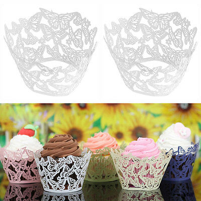 24Pcs Butterfly Hollow Out Cake Cupcake Liner Case Wrapper Muffin Baking Cup DIY