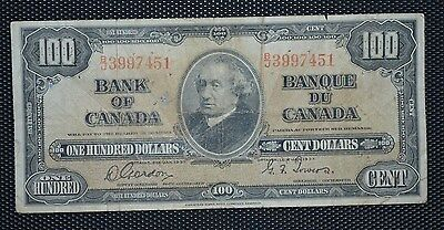 Bank Of Canada 1937 $100 Bank Note