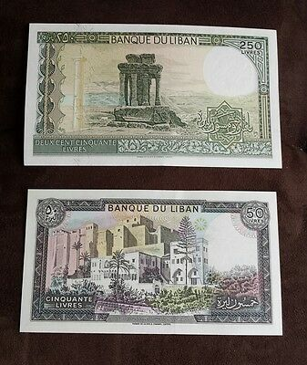 Scarce Lebanon 1987-88 Bank Notes 250 + 50 Lira Unc Hard To Find