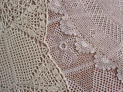 Three Vintage Hand Crochet DOILIES lots of Variety Medium Size in Taupe Shades