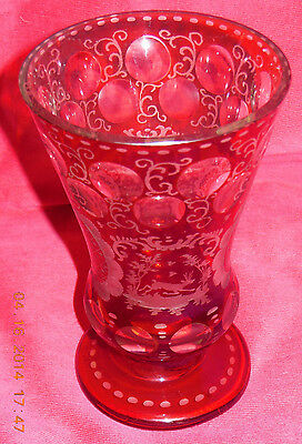 Antique Ruby Cut Engraved Glass Bohemia Goblet Dog chasing deer Excellent