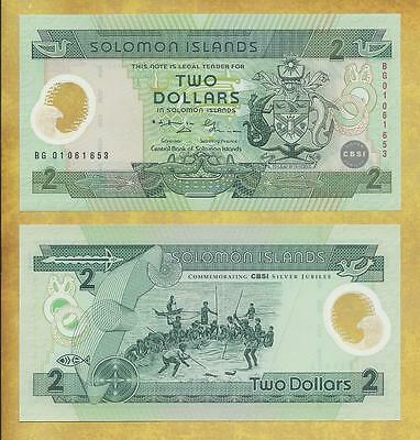 Solomon Islands 2 Dollars 2001 Unc Currency Banknote P-23 ***USA SELLER***