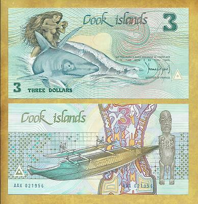 Cook Islands 3 Dollars Woman Shark Unc Currency Banknote P-3a ***USA SELLER***