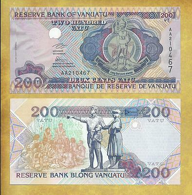 Vanuatu 200 Vatu TDLR Prefix AA Unc Currency Banknote P-8a ***USA SELLER***