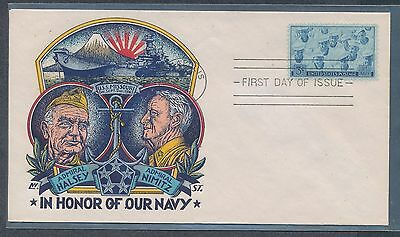 1945 Navy Staehle multicolor cachet first day cover Halsey Nimitz  USS Missouri