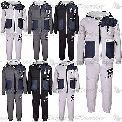 Kids DL Project Full Set Hooded Hoodie Sports Jogging Contrast Button Tracksuits