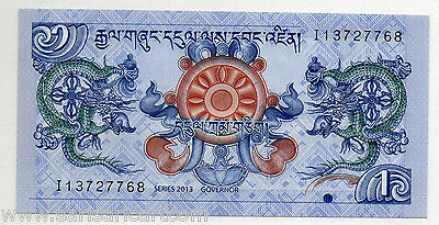 Bhutan 1 Ngultrum, 2013 P27b UNC Uncirculated World Banknote