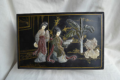 Antique Chinese Black Lacquer Jewellery Box with Soapstone Inlay