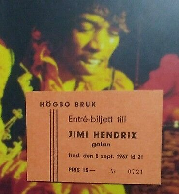 Early Jimi Hendrix Ticket Sept. 8,1967  Sweden 2nd. Show