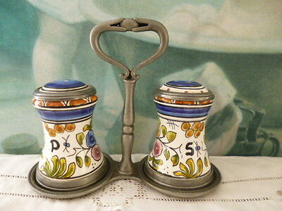 Pepper salt shakers Etain Germany with stand Enamel pewter hand painted