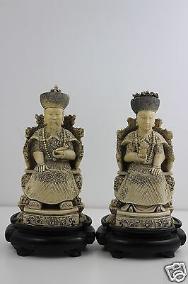 Pair Carved Resin Chinese Figures of Emperors on Plinths SIGNED 26cm High