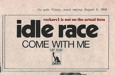 IDLE RACE (Jeff Lynne ELO) Come With Me 1969 mini UK Press ADVERT 4x2 inches