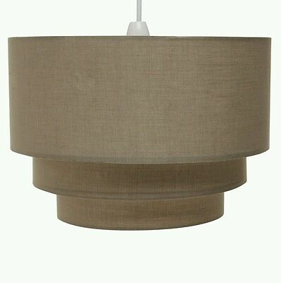 Beige Taupe Three Tiered Ceiling Light Shade Large Lightshade 35cm x 35cm