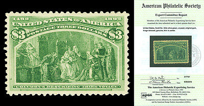 Scott 243a 1893 $3.00 Columbian Issue Mint VF OG Cat $1,500 w/ APS CERTIFICATE!