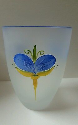 Sea Collection Hand Painted Kosta Boda Art Glass Vase Signed Lena Engman  Ec