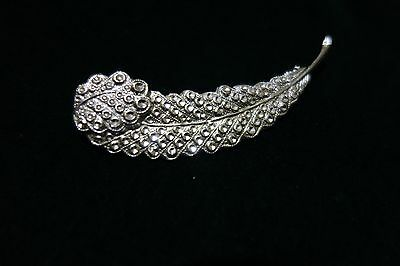 Vintage Sparkling  Silver Tone feather shape brooch
