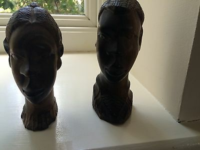1960s African Hand Carved Solid Wooden Heads Man & Woman