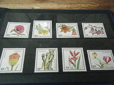 Set  Of  8    Rwanda   Plants   Unmounted Mint Stamps  On Black Stockbook Page