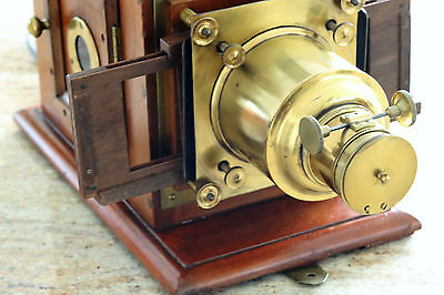 antique  MAHOGANY MAGIC LANTERN PROJECTOR,with case.Converted to electric.