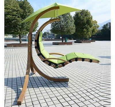 Helicopter Hammock Swing Chair Sun Lounger Wooden Frame Waterproof Fabric Canopy